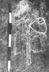 Obraz Jamese Gunna vytesán do skály ve Westfordu (Massachusetts)
